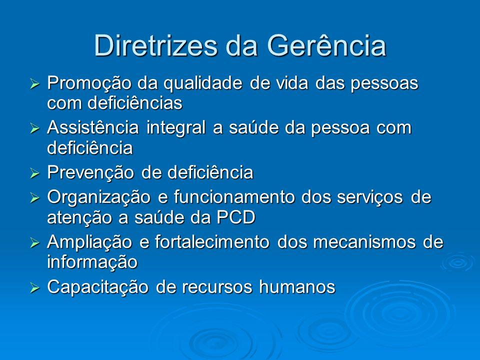 Diretrizes da Gerência Promoção da qualidade de vida das pessoas com deficiências Promoção da qualidade de vida das pessoas com deficiências Assistênc