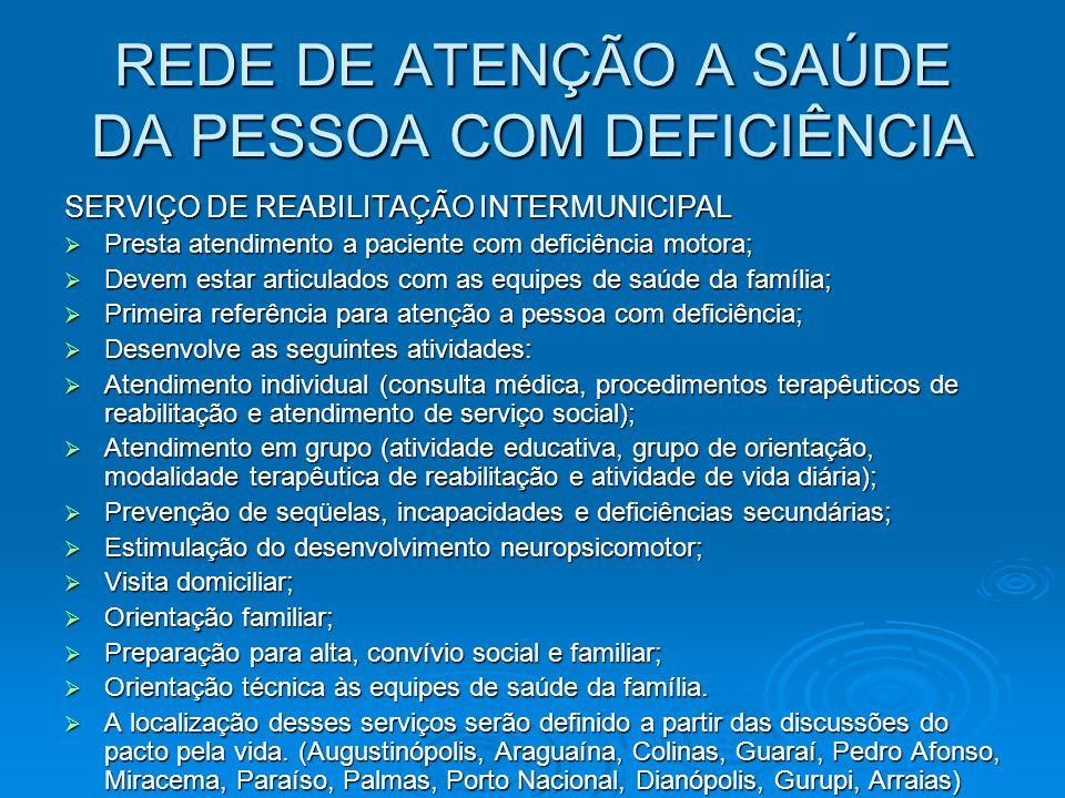 REDE DE ATENÇÃO A SAÚDE DA PESSOA COM DEFICIÊNCIA SERVIÇO DE REABILITAÇÃO INTERMUNICIPAL Presta atendimento a paciente com deficiência motora; Presta