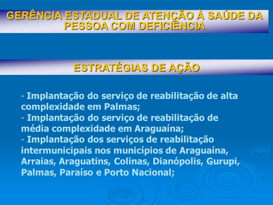ESTRATÉGIAS DE AÇÃO GERÊNCIA ESTADUAL DE ATENÇÃO À SAÚDE DA PESSOA COM DEFICIÊNCIA - Implantação de 01 (uma) oficina ortopédica em Palmas; - Implantação do serviço de triagem auditiva em Palmas e Araguaína; - Aquisição e concessão de órtese, prótese, meios auxiliares de locomoção, bolsas coletoras, órtese ocular e aparelho auditivo; -Capacitação de gestores e profissionais da rede de atenção a saúde da pessoa com deficiência; - Reunião com gestores municipais de saúde - apresentação da política estadual de atenção a saúde da pessoa com deficiência e definição de referência municipal.