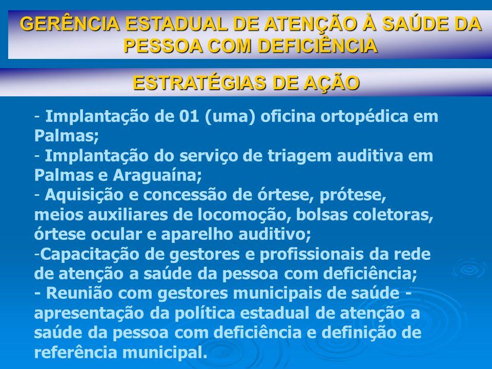 ESTRATÉGIAS DE AÇÃO GERÊNCIA ESTADUAL DE ATENÇÃO À SAÚDE DA PESSOA COM DEFICIÊNCIA - Implantação de 01 (uma) oficina ortopédica em Palmas; - Implantaç