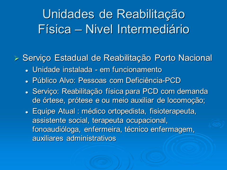 Unidades de Reabilitação Física – Nivel Intermediário Serviço Estadual de Reabilitação Porto Nacional Serviço Estadual de Reabilitação Porto Nacional
