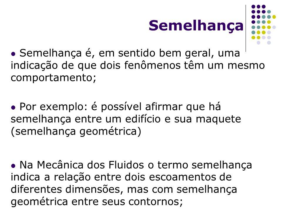 Semelhança Semelhança é, em sentido bem geral, uma indicação de que dois fenômenos têm um mesmo comportamento; Por exemplo: é possível afirmar que há semelhança entre um edifício e sua maquete (semelhança geométrica) Na Mecânica dos Fluidos o termo semelhança indica a relação entre dois escoamentos de diferentes dimensões, mas com semelhança geométrica entre seus contornos;