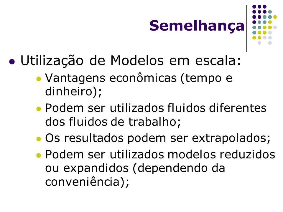 Semelhança Utilização de Modelos em escala: Vantagens econômicas (tempo e dinheiro); Podem ser utilizados fluidos diferentes dos fluidos de trabalho; Os resultados podem ser extrapolados; Podem ser utilizados modelos reduzidos ou expandidos (dependendo da conveniência);