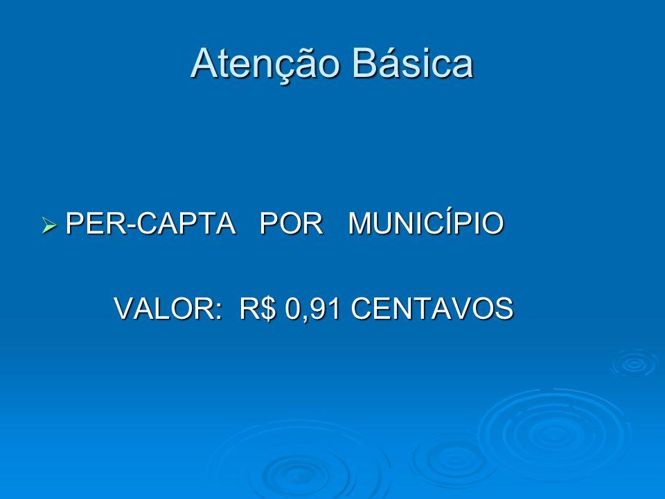 Atenção Básica PER-CAPTA POR MUNICÍPIO PER-CAPTA POR MUNICÍPIO VALOR: R$ 0,91 CENTAVOS VALOR: R$ 0,91 CENTAVOS