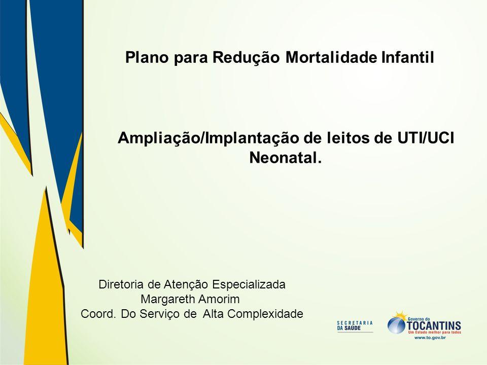 Diretoria de Atenção Especializada Margareth Amorim Coord. Do Serviço de Alta Complexidade Plano para Redução Mortalidade Infantil Ampliação/Implantaç