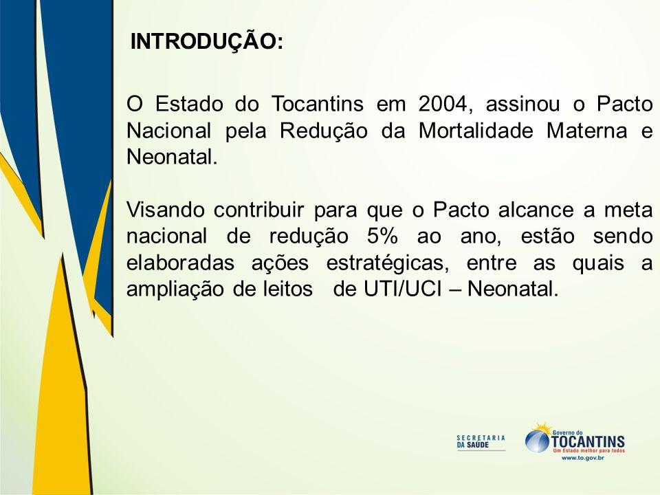INTRODUÇÃO: O Estado do Tocantins em 2004, assinou o Pacto Nacional pela Redução da Mortalidade Materna e Neonatal. Visando contribuir para que o Pact