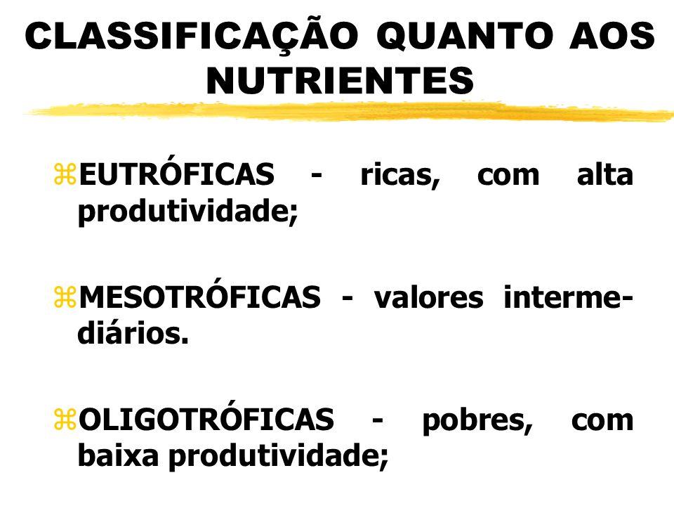 CLASSIFICAÇÃO QUANTO AOS NUTRIENTES zEUTRÓFICAS - ricas, com alta produtividade; zMESOTRÓFICAS - valores interme- diários. zOLIGOTRÓFICAS - pobres, co