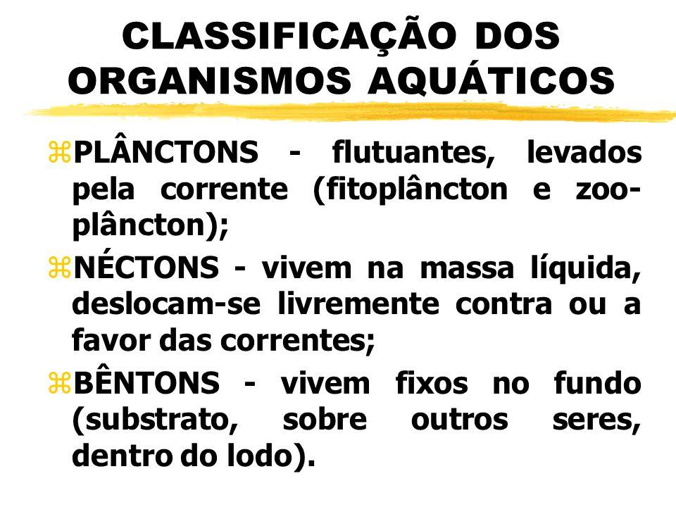 CLASSIFICAÇÃO DOS ORGANISMOS AQUÁTICOS zPLÂNCTONS - flutuantes, levados pela corrente (fitoplâncton e zoo- plâncton); zNÉCTONS - vivem na massa líquid
