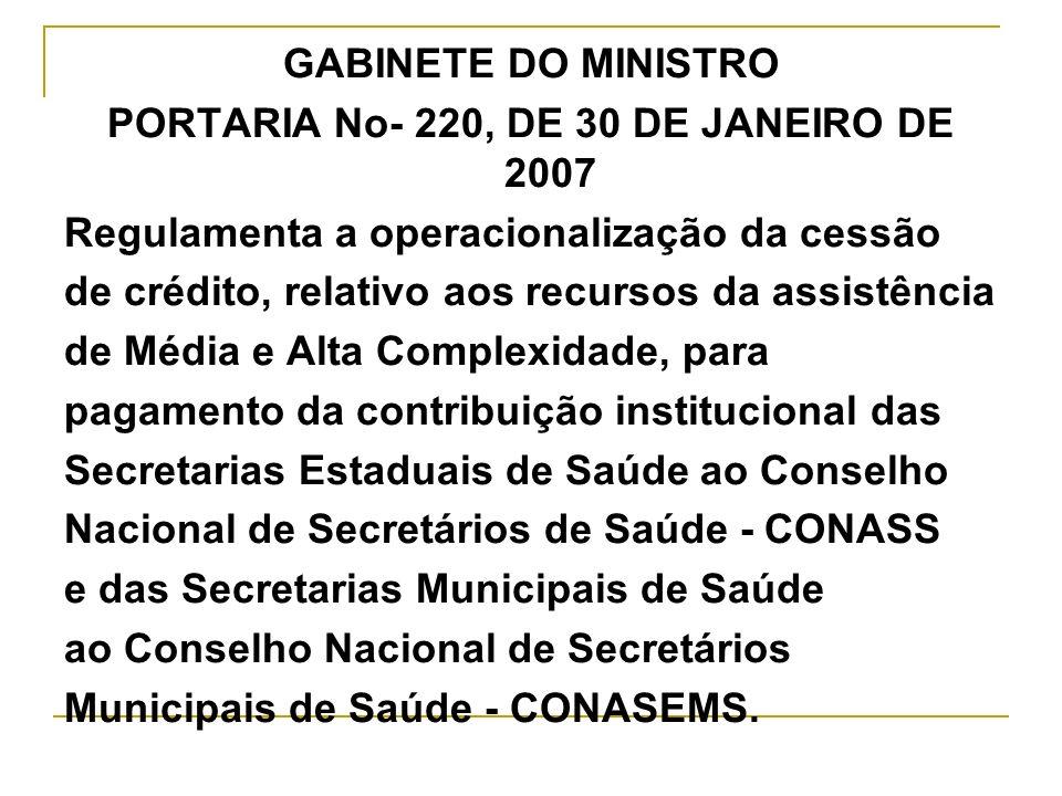 GABINETE DO MINISTRO PORTARIA No- 220, DE 30 DE JANEIRO DE 2007 Regulamenta a operacionalização da cessão de crédito, relativo aos recursos da assistê