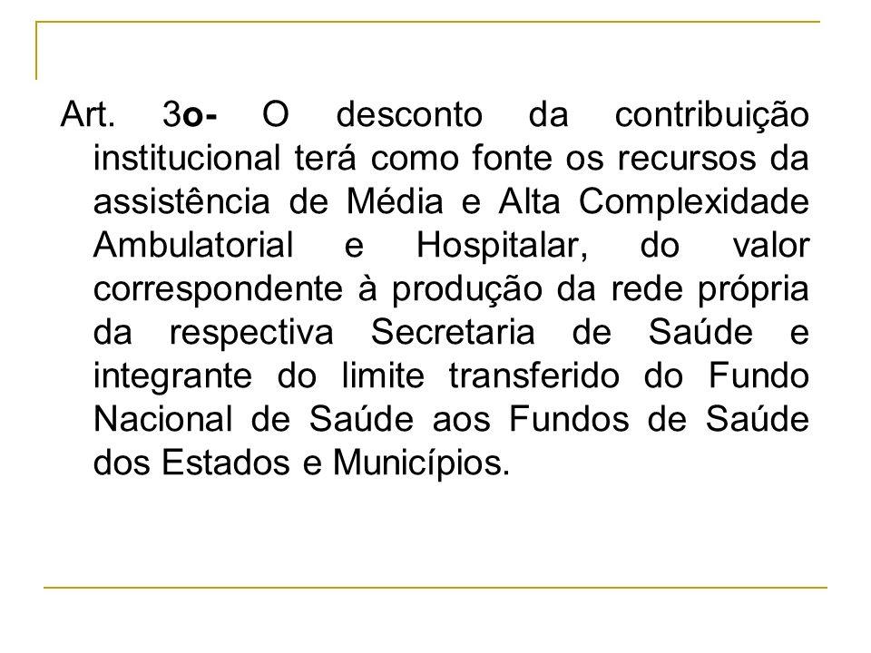 Art. 3o- O desconto da contribuição institucional terá como fonte os recursos da assistência de Média e Alta Complexidade Ambulatorial e Hospitalar, d