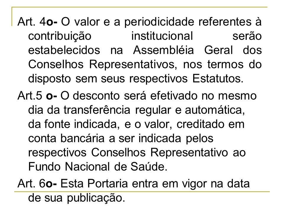 Art. 4o- O valor e a periodicidade referentes à contribuição institucional serão estabelecidos na Assembléia Geral dos Conselhos Representativos, nos