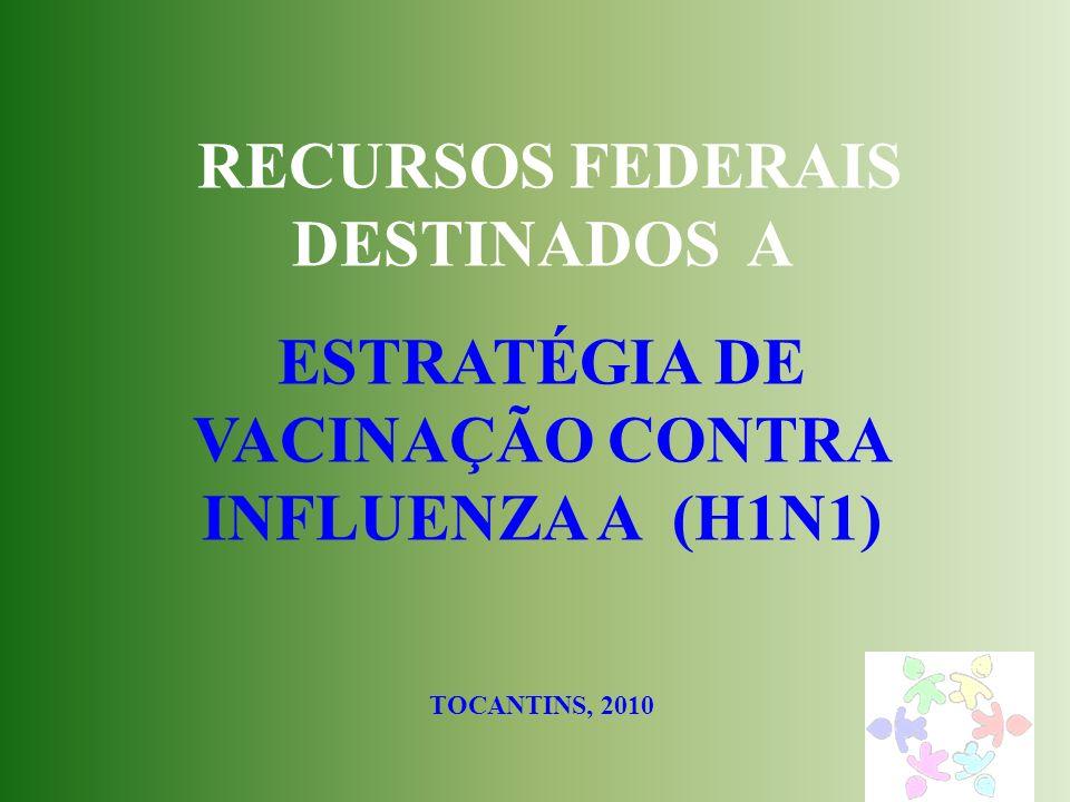 RECURSOS FEDERAIS DESTINADOS A ESTRATÉGIA DE VACINAÇÃO CONTRA INFLUENZA A (H1N1) TOCANTINS, 2010