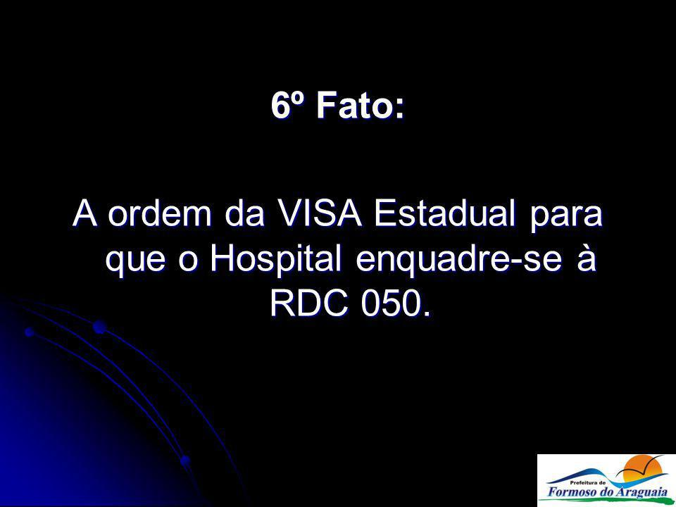 6º Fato: A ordem da VISA Estadual para que o Hospital enquadre-se à RDC 050.