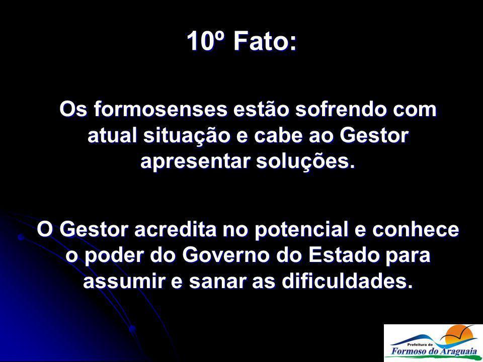 10º Fato: Os formosenses estão sofrendo com atual situação e cabe ao Gestor apresentar soluções.
