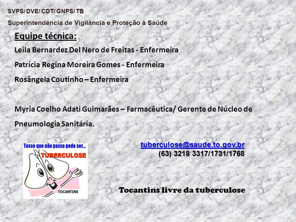 SVPS/ DVE/ CDT/ GNPS/ TB Superintendência de Vigilância e Proteção à Saúde Equipe técnica: Leila Bernardez Del Nero de Freitas - Enfermeira Patrícia R