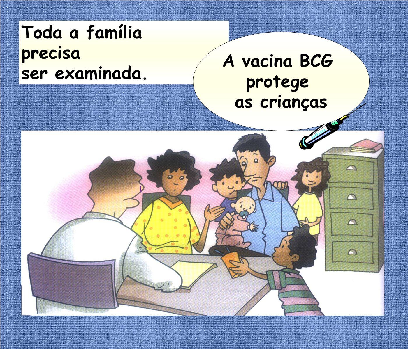 Toda a família precisa ser examinada. A vacina BCG protege as crianças
