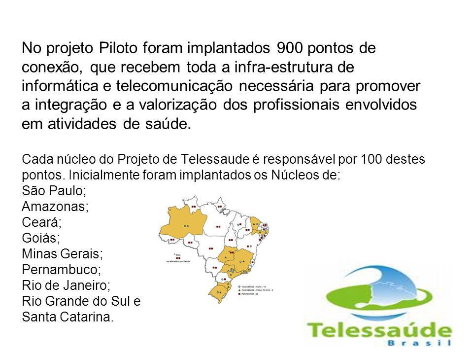 No projeto Piloto foram implantados 900 pontos de conexão, que recebem toda a infra-estrutura de informática e telecomunicação necessária para promove