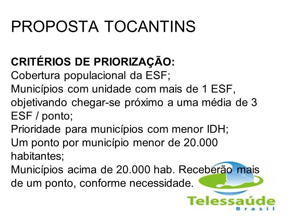 PROPOSTA TOCANTINS CRITÉRIOS DE PRIORIZAÇÃO: Cobertura populacional da ESF; Municípios com unidade com mais de 1 ESF, objetivando chegar-se próximo a