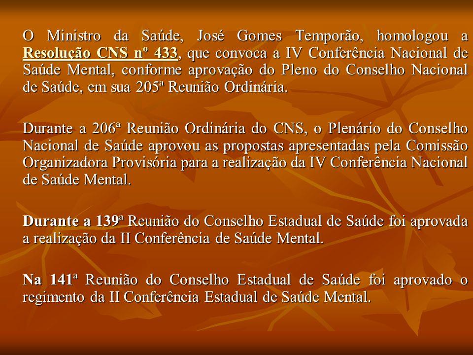 O Ministro da Saúde, José Gomes Temporão, homologou a Resolução CNS nº 433, que convoca a IV Conferência Nacional de Saúde Mental, conforme aprovação