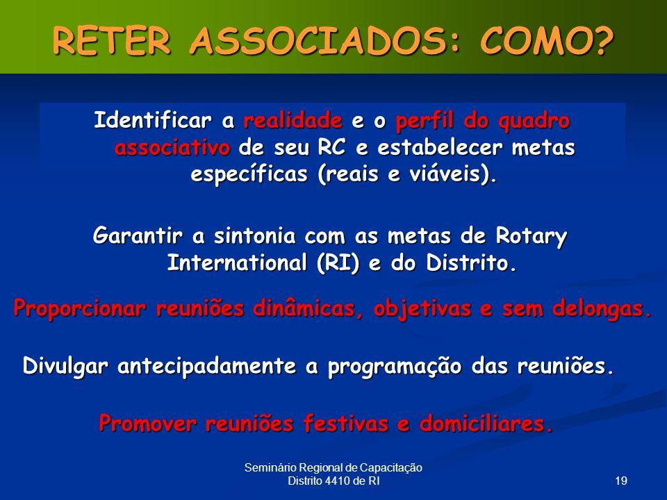 19 Seminário Regional de Capacitação Distrito 4410 de RI RETER ASSOCIADOS: COMO? Proporcionar reuniões dinâmicas, objetivas e sem delongas. Identifica