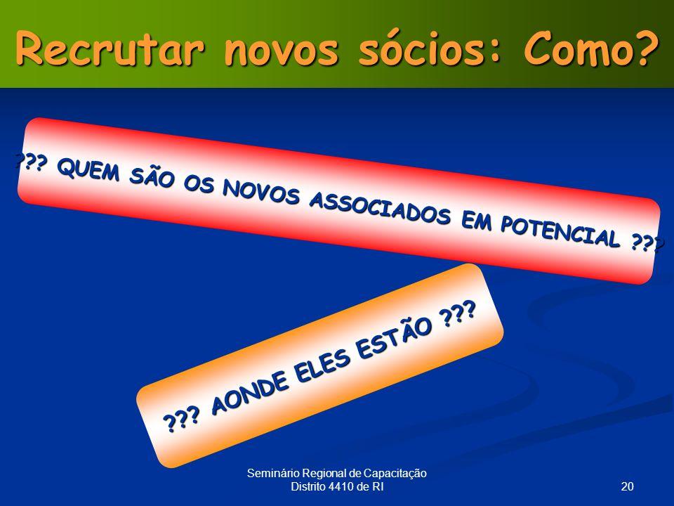 20 Seminário Regional de Capacitação Distrito 4410 de RI Recrutar novos sócios: Como? ??? QUEM SÃO OS NOVOS ASSOCIADOS EM POTENCIAL ??? ??? AONDE ELES