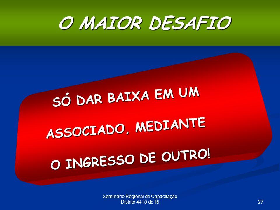 27 Seminário Regional de Capacitação Distrito 4410 de RI O MAIOR DESAFIO SÓ DAR BAIXA EM UM ASSOCIADO, MEDIANTE O INGRESSO DE OUTRO!