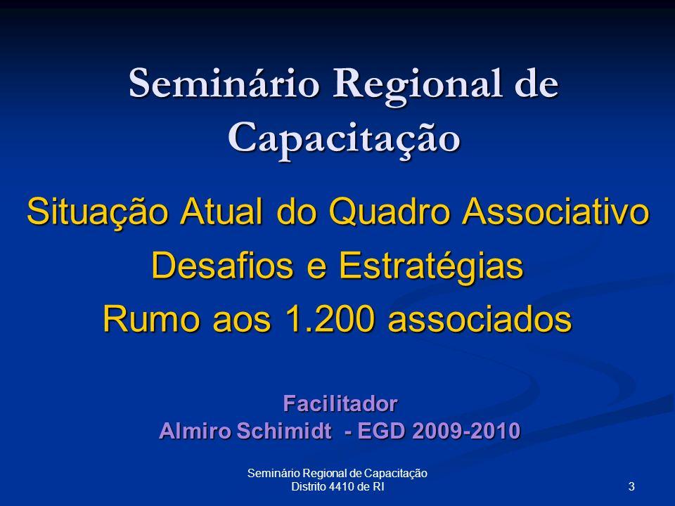 3 Seminário Regional de Capacitação Distrito 4410 de RI Seminário Regional de Capacitação Situação Atual do Quadro Associativo Desafios e Estratégias