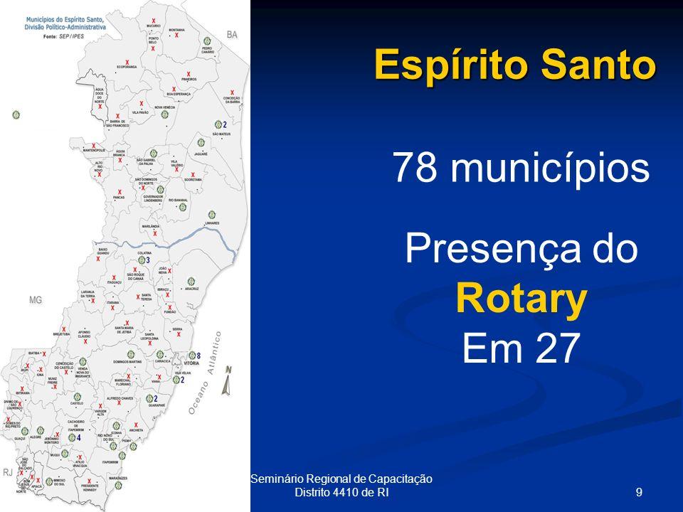 9 Seminário Regional de Capacitação Distrito 4410 de RI Espírito Santo 78 municípios Presença do Rotary Em 27