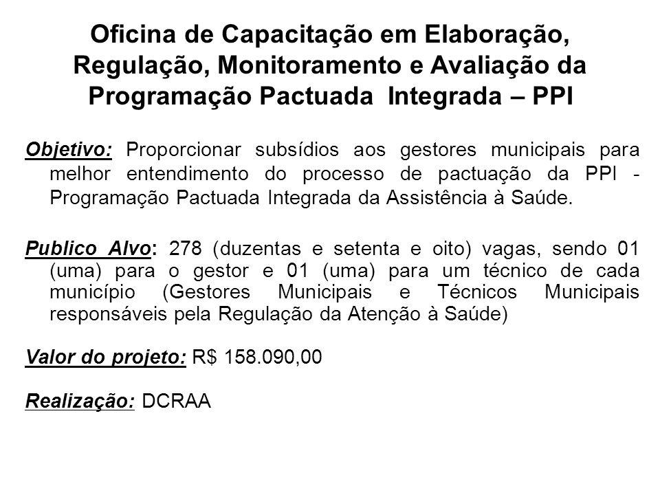 Objetivo: Proporcionar subsídios aos gestores municipais para melhor entendimento do processo de pactuação da PPI - Programação Pactuada Integrada da