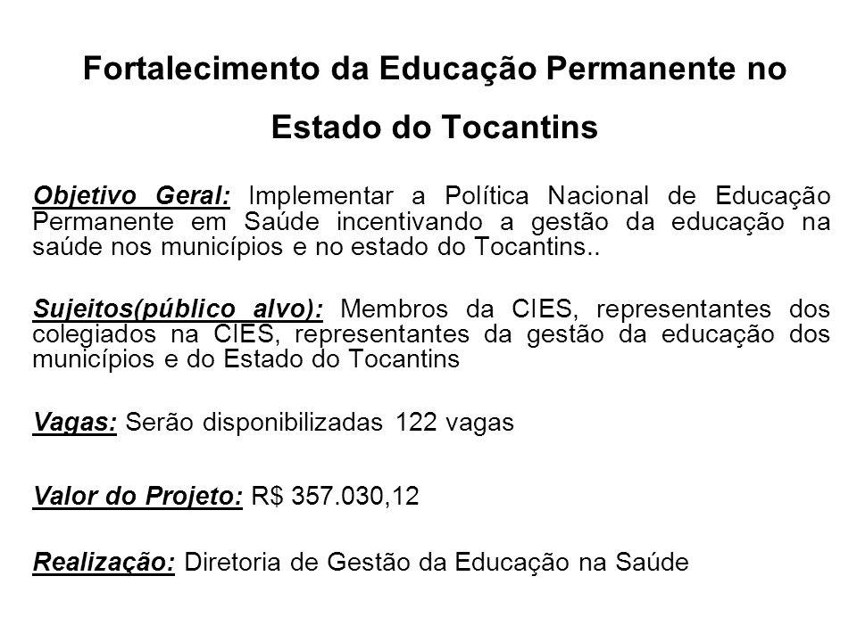 Fortalecimento da Educação Permanente no Estado do Tocantins Objetivo Geral: Implementar a Política Nacional de Educação Permanente em Saúde incentiva