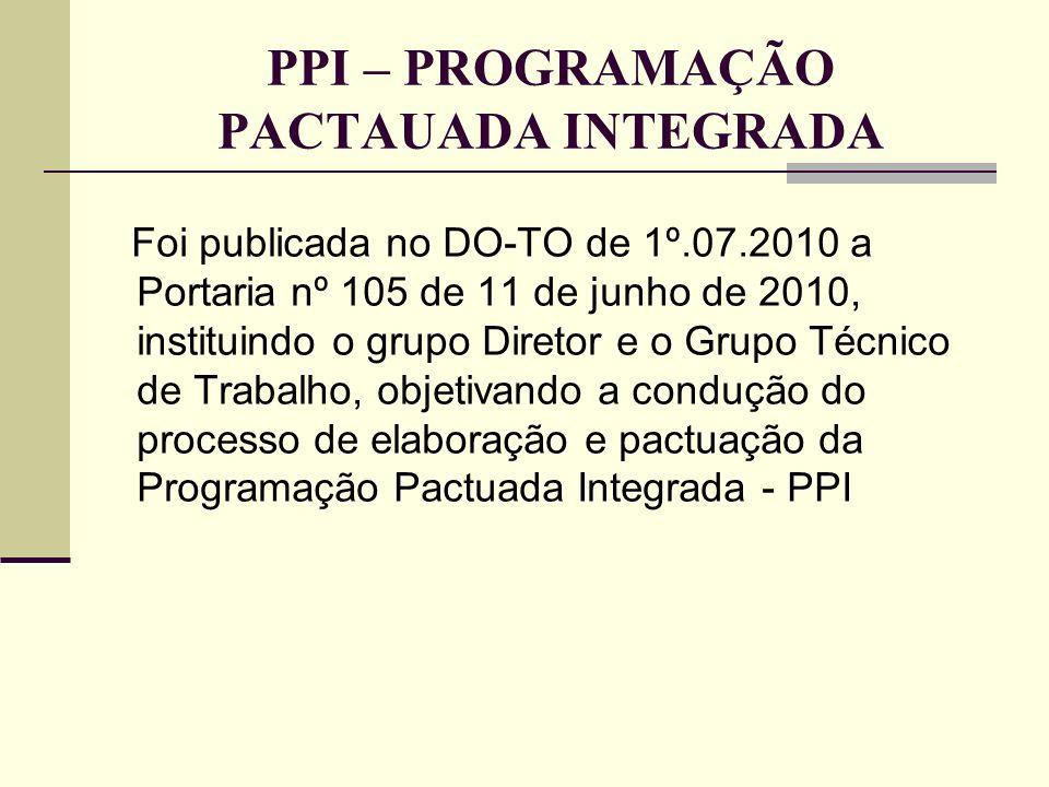PPI – PROGRAMAÇÃO PACTAUADA INTEGRADA Foi publicada no DO-TO de 1º.07.2010 a Portaria nº 105 de 11 de junho de 2010, instituindo o grupo Diretor e o G