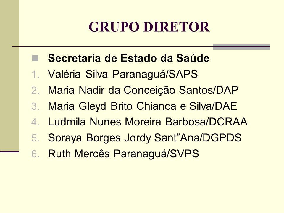 GRUPO DIRETOR Secretaria de Estado da Saúde 1. Valéria Silva Paranaguá/SAPS 2. Maria Nadir da Conceição Santos/DAP 3. Maria Gleyd Brito Chianca e Silv