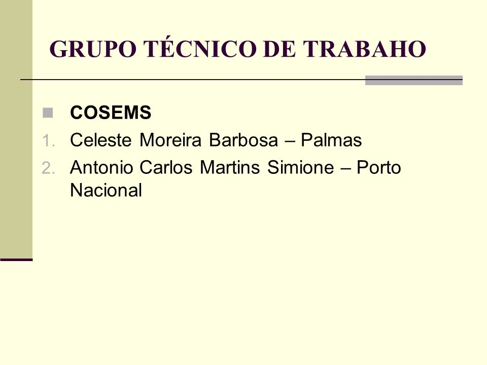 GRUPO TÉCNICO DE TRABAHO COSEMS 1. Celeste Moreira Barbosa – Palmas 2. Antonio Carlos Martins Simione – Porto Nacional
