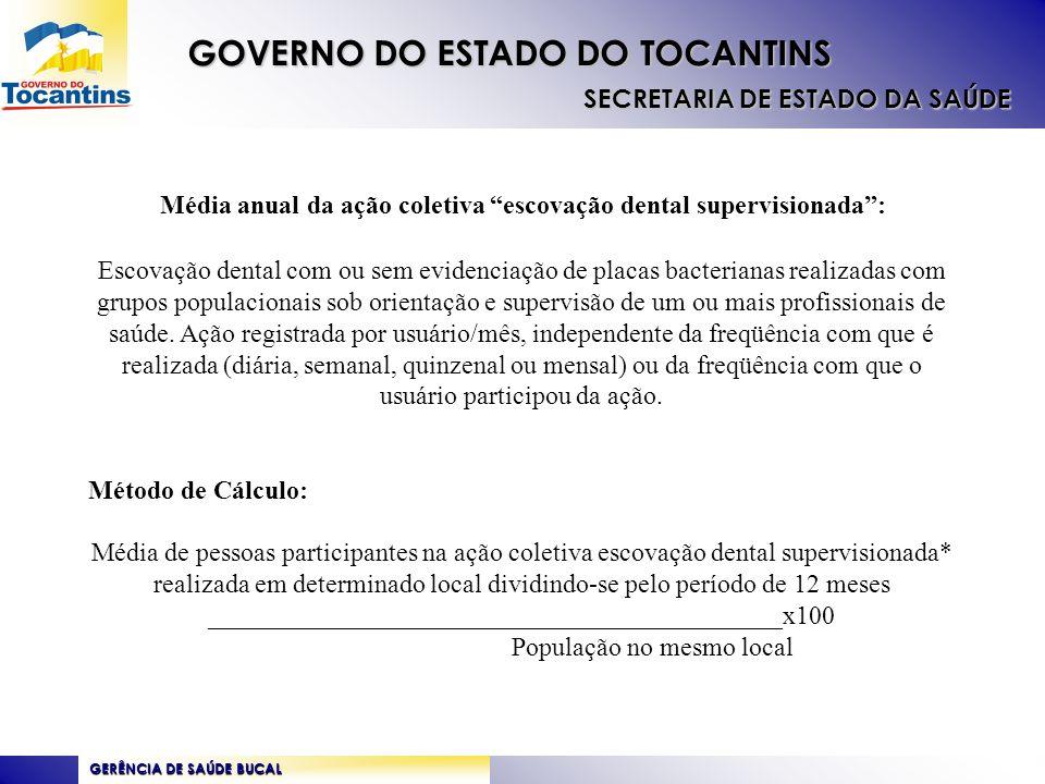 GERÊNCIA DE SAÚDE BUCAL GOVERNO DO ESTADO DO TOCANTINS SECRETARIA DE ESTADO DA SAÚDE Proposta de Pactuação do Estado Biênio 2010/2011 COBERTURA DE PRIMEIRA CONSULTA ODONTOLÓGICA PROGRAMÁTICA : 7,5 MÉDIA ANUAL DA AÇÃO COLETIVA ESCOVAÇÃO DENTAL SUPERVISIONADA 2,5