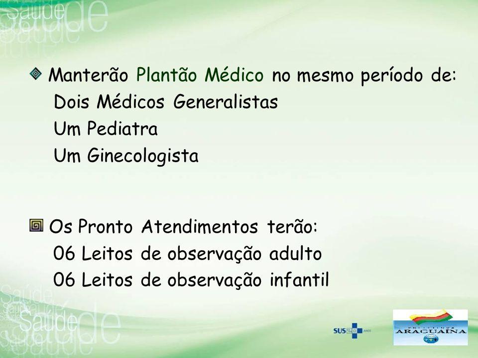 Manterão Plantão Médico no mesmo período de: Dois Médicos Generalistas Um Pediatra Um Ginecologista Os Pronto Atendimentos terão: 06 Leitos de observa