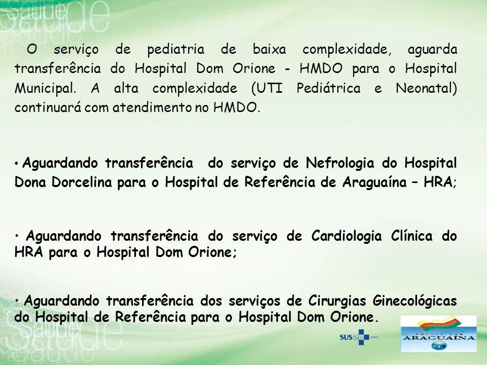 Aguardando transferência do serviço de Nefrologia do Hospital Dona Dorcelina para o Hospital de Referência de Araguaína – HRA; Aguardando transferênci