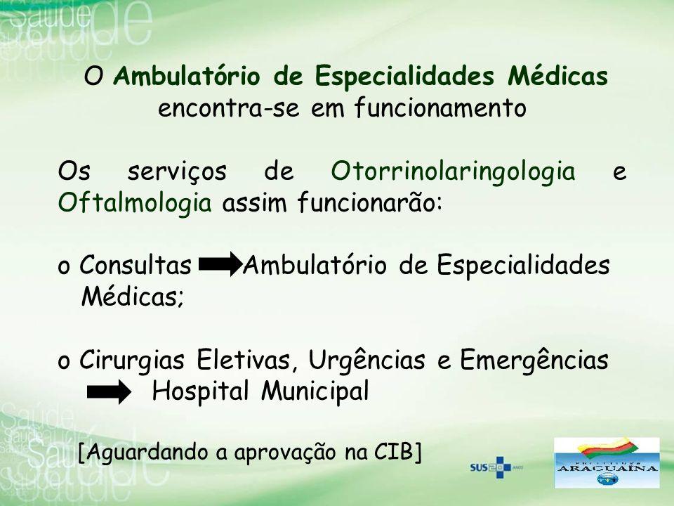 O Ambulatório de Especialidades Médicas encontra-se em funcionamento Os serviços de Otorrinolaringologia e Oftalmologia assim funcionarão: o Consultas