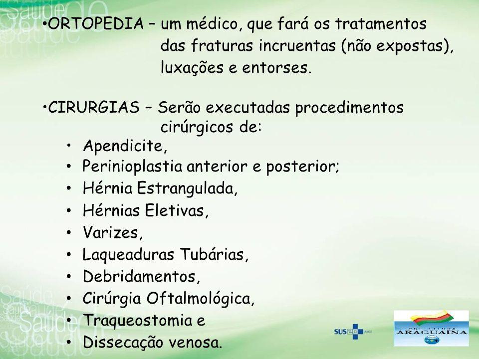 ORTOPEDIA – um médico, que fará os tratamentos das fraturas incruentas (não expostas), luxações e entorses. CIRURGIAS – Serão executadas procedimentos