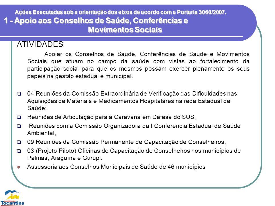 Ações Executadas sob a orientação dos eixos de acordo com a Portaria 3060/2007. ATIVIDADES : Apoiar os Conselhos de Saúde, Conferências de Saúde e Mov