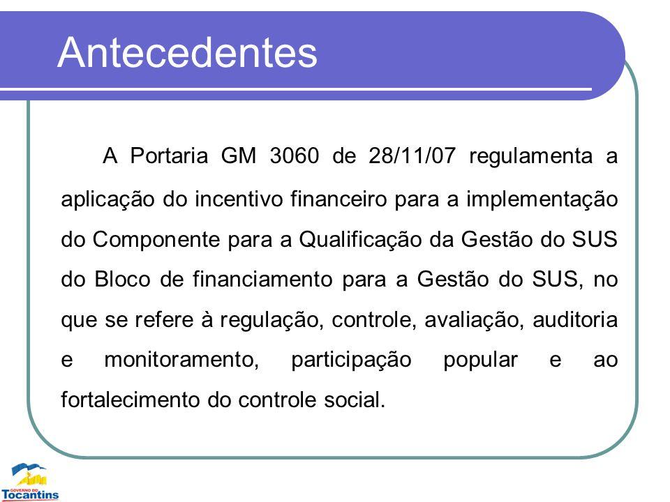 Antecedentes A Portaria GM 3060 de 28/11/07 regulamenta a aplicação do incentivo financeiro para a implementação do Componente para a Qualificação da