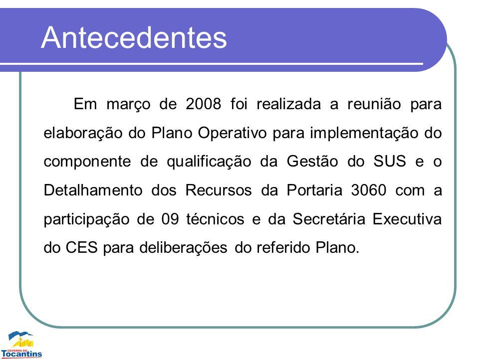 Antecedentes Em março de 2008 foi realizada a reunião para elaboração do Plano Operativo para implementação do componente de qualificação da Gestão do