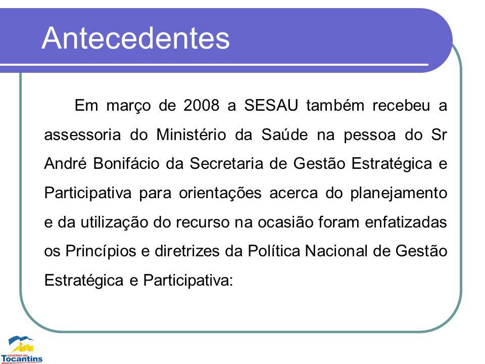 Antecedentes Em março de 2008 a SESAU também recebeu a assessoria do Ministério da Saúde na pessoa do Sr André Bonifácio da Secretaria de Gestão Estra