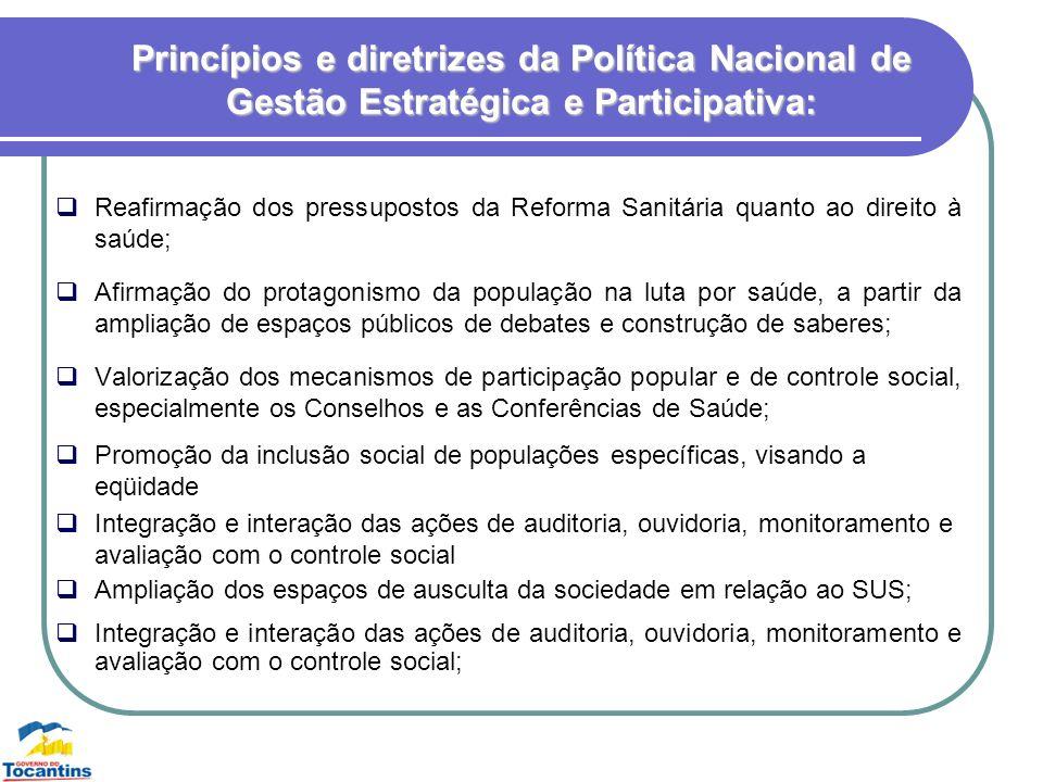 Princípios e diretrizes da Política Nacional de Gestão Estratégica e Participativa: Reafirmação dos pressupostos da Reforma Sanitária quanto ao direit