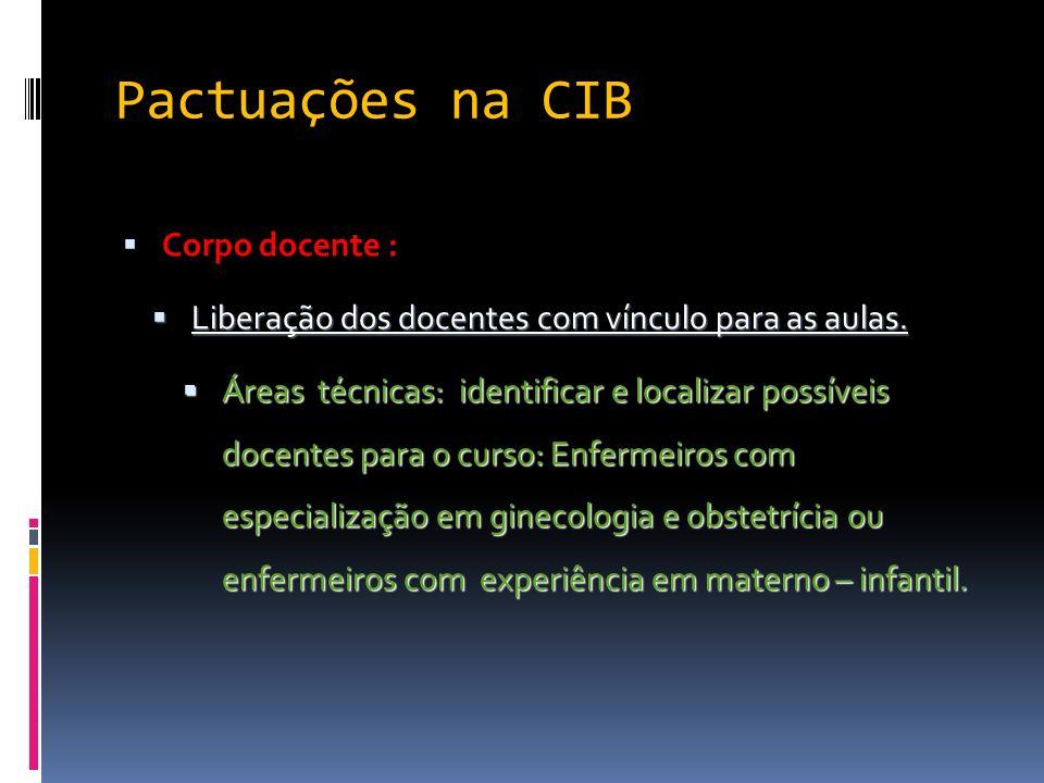 Pactuações na CIB Corpo docente : Liberação dos docentes com vínculo para as aulas. Liberação dos docentes com vínculo para as aulas. Áreas técnicas: