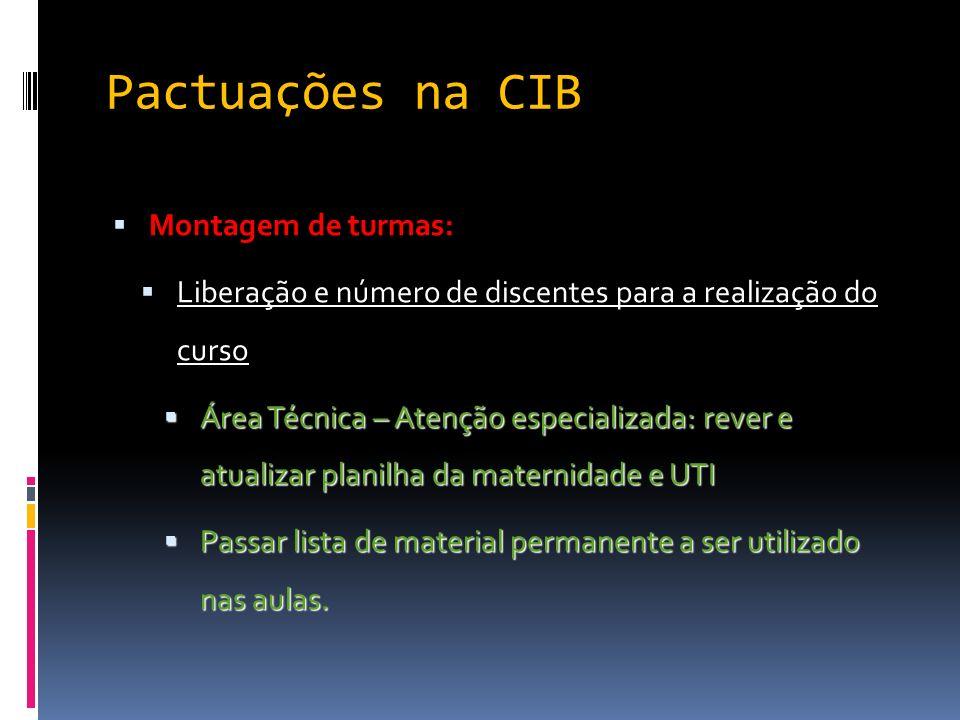 Pactuações na CIB Montagem de turmas: Liberação e número de discentes para a realização do curso Área Técnica – Atenção especializada: rever e atualiz