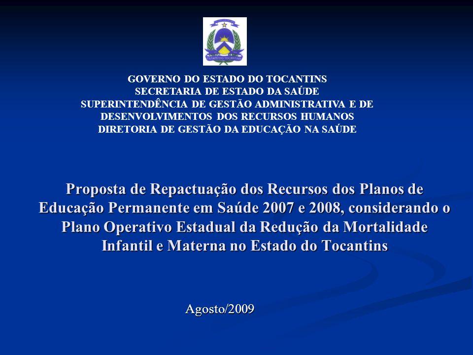 Proposta de Repactuação dos Recursos dos Planos de Educação Permanente em Saúde 2007 e 2008, considerando o Plano Operativo Estadual da Redução da Mor