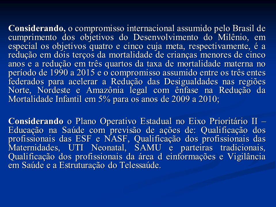 Considerando, o compromisso internacional assumido pelo Brasil de cumprimento dos objetivos do Desenvolvimento do Milênio, em especial os objetivos quatro e cinco cuja meta, respectivamente, é a redução em dois terços da mortalidade de crianças menores de cinco anos e a redução em três quartos da taxa de mortalidade materna no período de 1990 a 2015 e o compromisso assumido entre os três entes federados para acelerar a Redução das Desigualdades nas regiões Norte, Nordeste e Amazônia legal com ênfase na Redução da Mortalidade Infantil em 5% para os anos de 2009 a 2010; Considerando o Plano Operativo Estadual no Eixo Prioritário II – Educação na Saúde com previsão de ações de: Qualificação dos profissionais das ESF e NASF, Qualificação dos profissionais das Maternidades, UTI Neonatal, SAMU e parteiras tradicionais, Qualificação dos profissionais da área d einformações e Vigilância em Saúde e a Estruturação do Telessaúde.