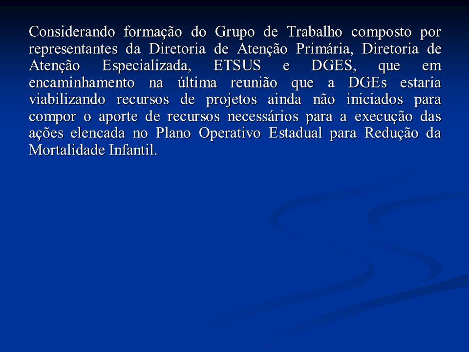 Considerando formação do Grupo de Trabalho composto por representantes da Diretoria de Atenção Primária, Diretoria de Atenção Especializada, ETSUS e D