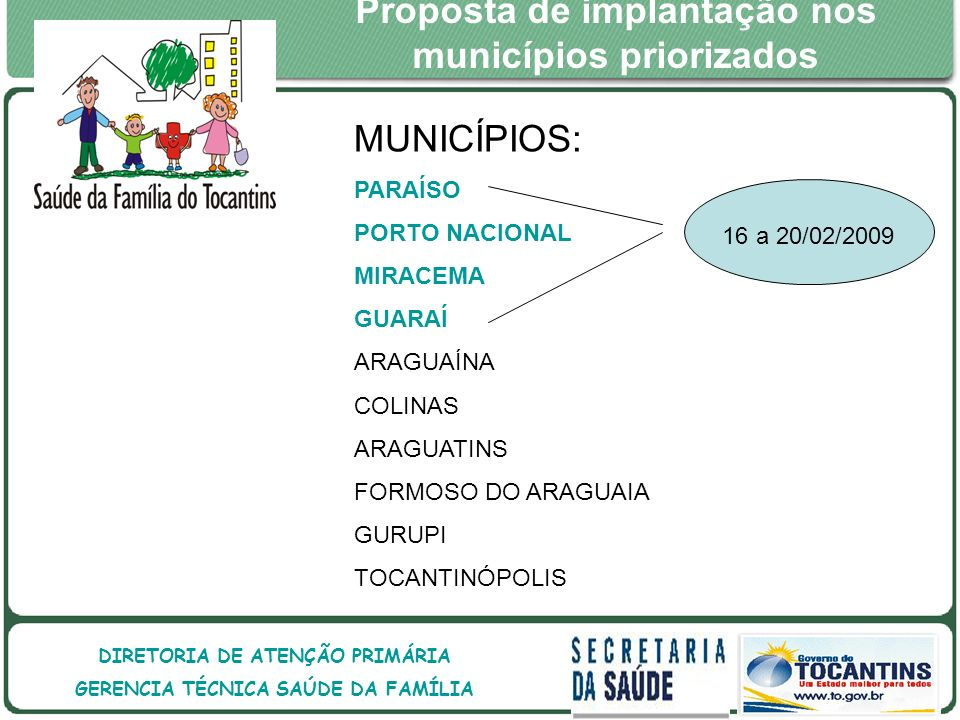 GOVERNO DO ESTADO DO TOCANTINS GOVERNO DO ESTADO DO TOCANTINS SECRETARIA DE ESTADO DA SAÚDE DIRETORIA DE ATENÇÃO PRIMÁRIA GERENCIA TÉCNICA SAÚDE DA FAMÍLIA Proposta de implantação nos municípios priorizados MUNICÍPIOS: PARAÍSO PORTO NACIONAL MIRACEMA GUARAÍ ARAGUAÍNA COLINAS ARAGUATINS FORMOSO DO ARAGUAIA GURUPI TOCANTINÓPOLIS 16 a 20/02/2009