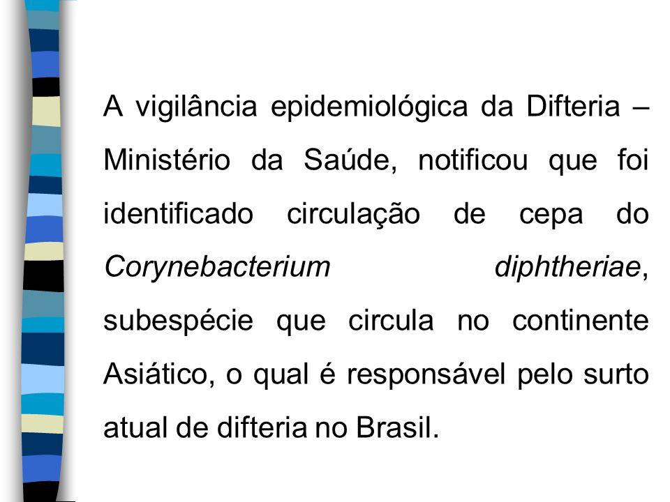 A vigilância epidemiológica da Difteria – Ministério da Saúde, notificou que foi identificado circulação de cepa do Corynebacterium diphtheriae, subespécie que circula no continente Asiático, o qual é responsável pelo surto atual de difteria no Brasil.